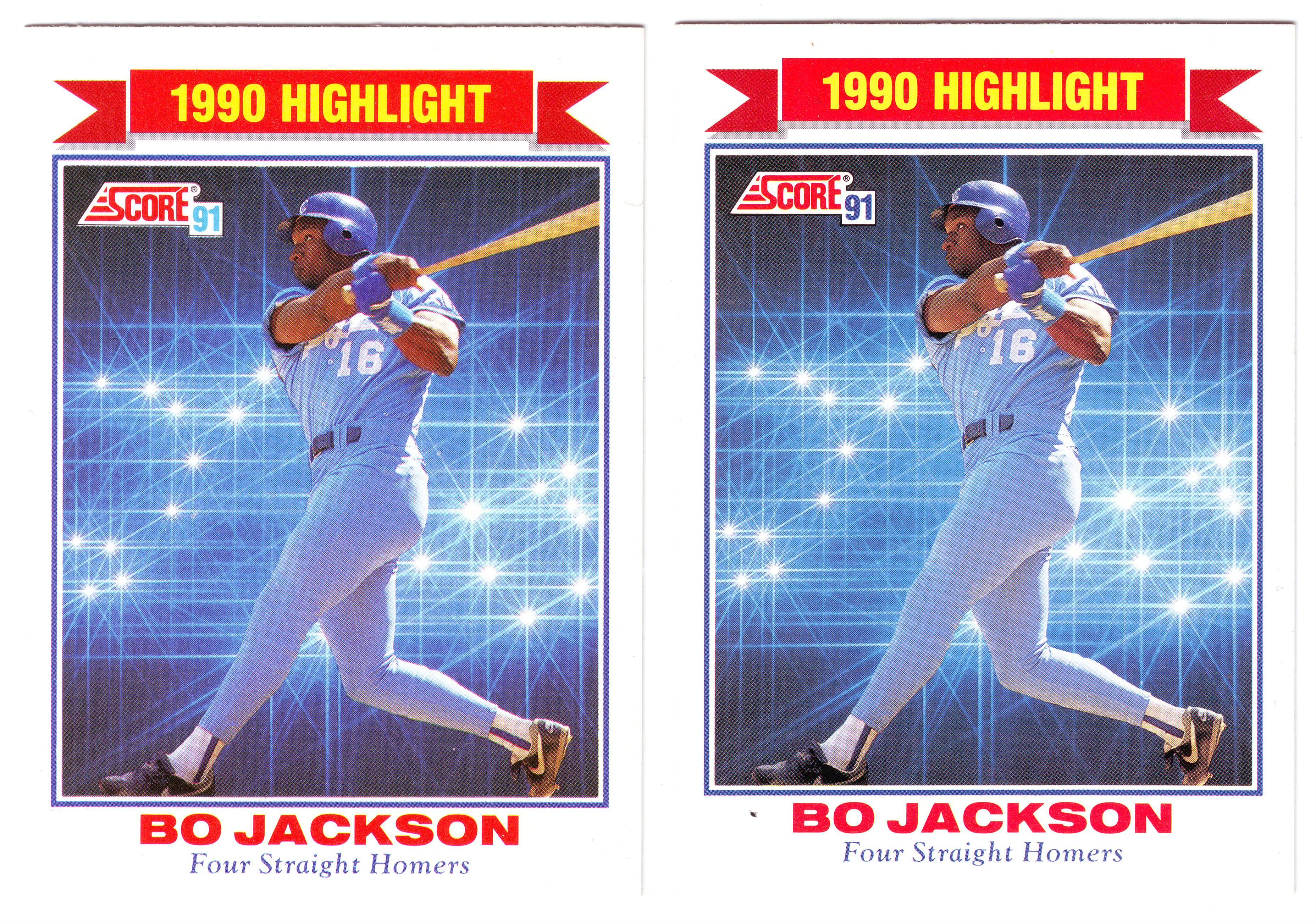 91 Score Bo Jackson 90 Error Junk Wax Gems